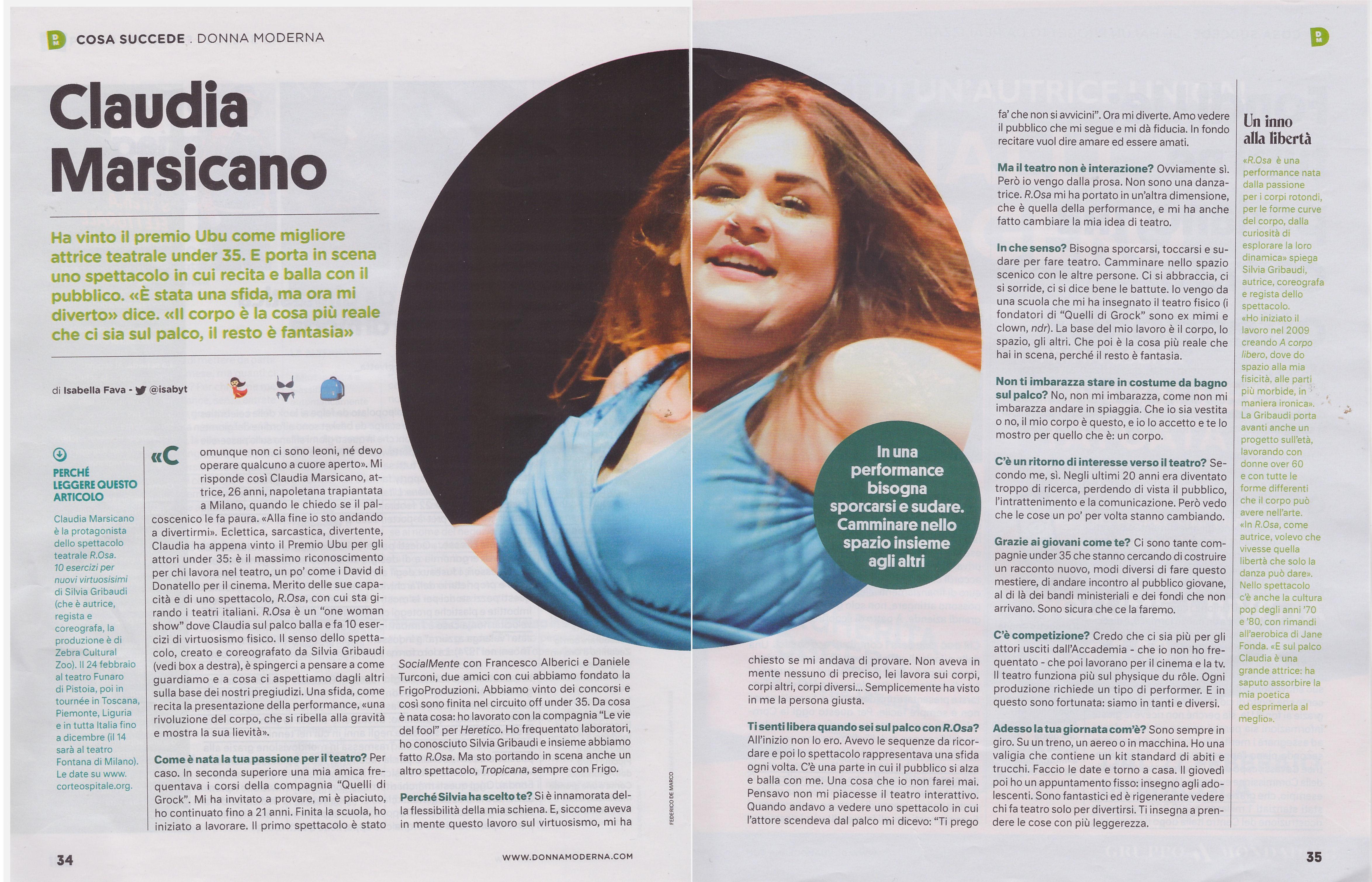 Intervista a Claudia Marsicano per Donna Moderna 2018 di Isabella Fava